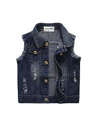 Chumhey Baby & Little Girls/Boys Lapel Raw Edge Deep Blue Denim Vests