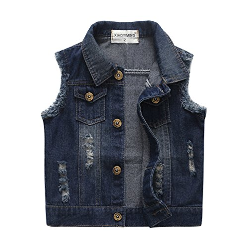 Chumhey Baby & Little Girls/Boys Lapel Raw Edge Deep Blue Denim Vests Blue Kids Jeans