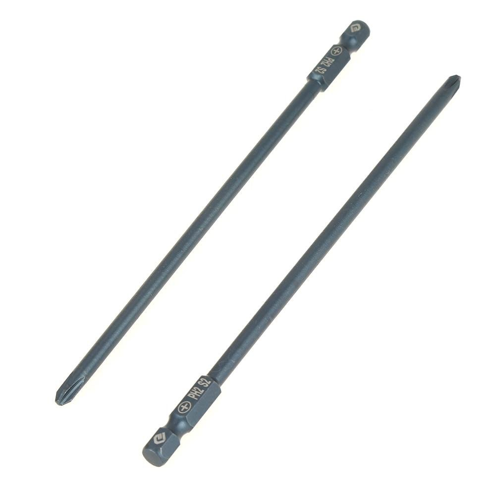 10pcs 150mm Long Phillips Screwdriver Bits Set S2 Steel 1//4inch Hex Shank Cross Head PH2 Magnetic Screwdriver Bits Set Tool