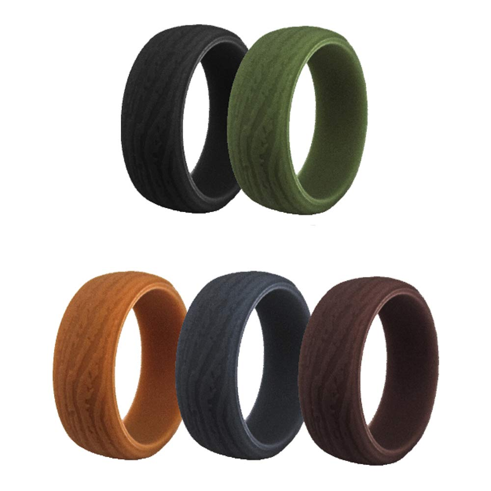 HDSUDCG Silicone Wedding Rings Band for Men 12 Pack Size 10 11 12 13 14 Mens Step Edge Sleek Design Bark Texture Rubber Wedding Bands Rings 8mm Wide for Workout
