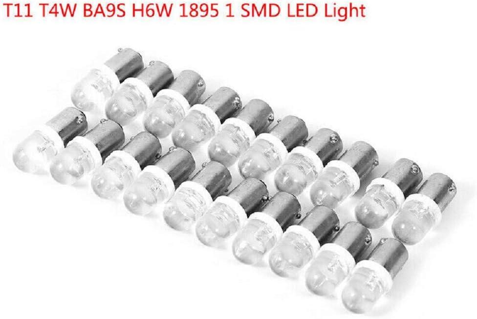 20x T11 T4W BA9S H6W 1895 1SMD LED 12V Turn Signal Dashboard Lights Bulbs White