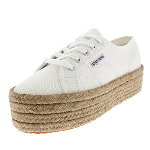Womens Superga 2790 Cotropew Wedges Flatform Sneakers - White (Large Image)