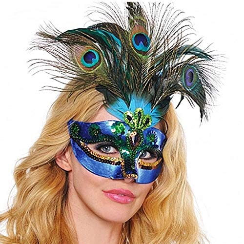 Masquerade Masks - Party Mask Woman Female Masquerade Masks Luxury Peacock Feathers Half Face Cosplay Costume Halloween - Luxury Couoles Greek Party For Hers On Rainbow Animal Women -