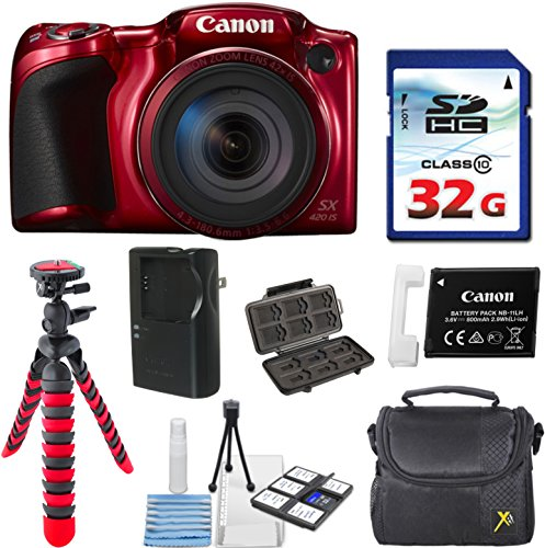 Canon PowerShot SX420 IS (Red) with 42x Optical Zoom and Built-In Wi-Fi with 32GB High Speed Memory Card + Deluxe Camera Case + Flexible Spider Tripod + Starter Kit Deluxe Accessory Bundle