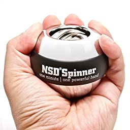 NSD Power Winner\'s Precision Sterling Spinner Gyroscopic Wrist and Forearm Exerciser with Digital Speedometer, and Heavyweight Zinc Rotor and Stainless Steel Shell