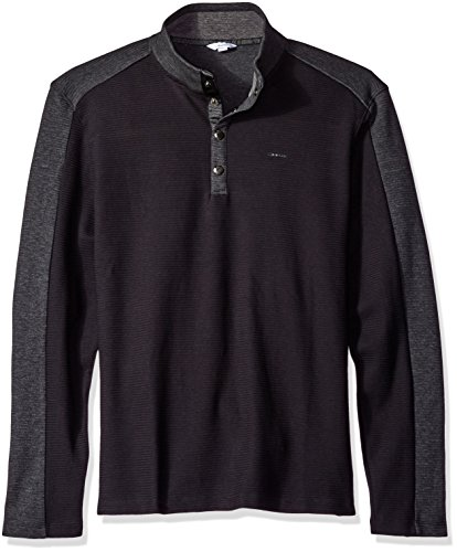 Calvin Klein Men's Long Sleeve Quarter Button Color Block Pullover, Black, MEDIUM
