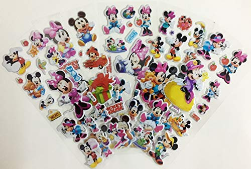 Chaoiwah Mickey Mouse Stickers 3D 4 Sheets and one More Free Sheet Sticker 5 Sheets per Pack-Mickey Mouse
