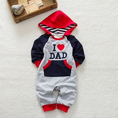 IDGIRL Baby Newborn and Toddler Jumpsuit Hooded romper DAD & MOM 80