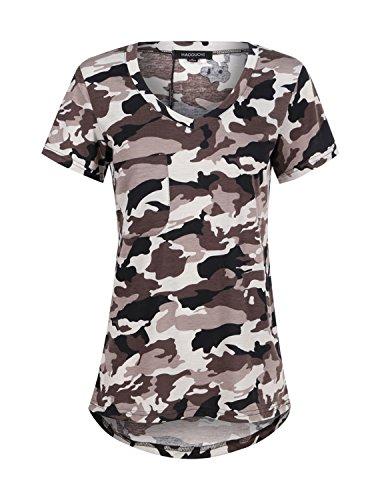 HaoDuoYi Womens Camo Camouflage Jersey Longer V Neck Top Tee T Shirt(XL,City Camo)