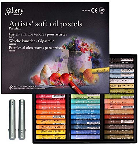 Mungyo Gallery Non Toxic Soft Oil Pastels Set of 48 Assorted Colors, Bundle with 2 Pastel holders for Artist and Professionals