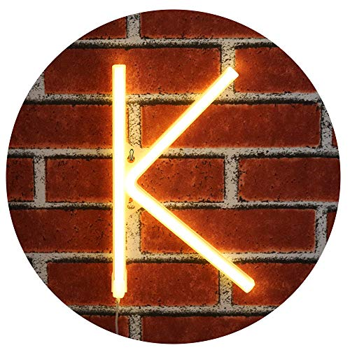 Obrecis Light Up LED Neon Letter Sign Wall Decorative Neon Lights Warm White Alphabet Marquee Letter Lights for Birthday Wedding Party Decor - K