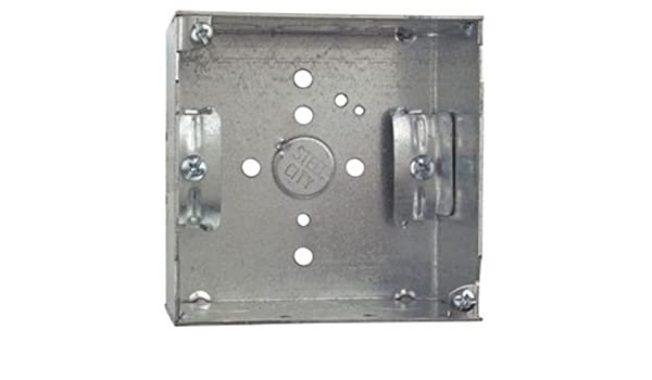 B-Bracket and 1//2-Inch and 3//4-Inch Eccentric Knockouts Thomas /& Betts Steel City 52151-BN Pre-Galvanized Steel Square Box with C-5 Non-Metallic Cable Clamps