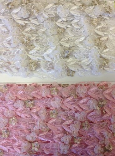 3 Yards 1 Wide Multi-Use Garments Costume Decoration Scrapbooks Invitations Gowns Lace Trim Puff Organza Flower Embroidered Sheer Organza Pink Choose Color