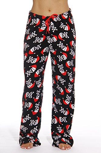 6339-10177-M Just Love Women's Plush Pajama Pants - Petite to Plus Size Pajamas,Black - Santa Skull,Medium (Christmas Pajamas)