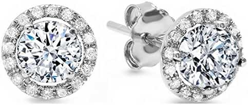 Clara Pucci 1.50 CT ROUND BRILLIANT CUT SOLITAIRE HALO Pave STUD EARRINGS 14K WHITE GOLD ScrewBack