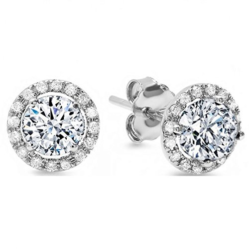 1.80 CT Simulated Diamond ROUND BRILLIANT CUT SOLITAIRE HALO Pave STUD EARRINGS 14K WHITE GOLD ScrewBack
