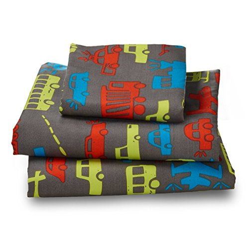 Where The Polka Dots Roam Twin Transportation Microfiber Print Bed Sheet Set for Kids Bedding