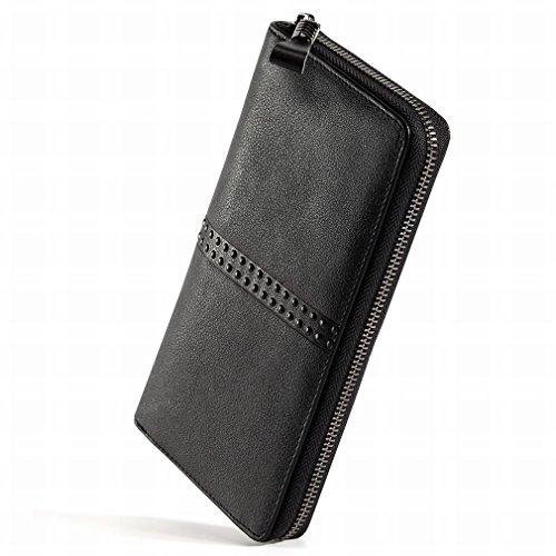 Negro Q Los Teléfono de Hombres Cremallera Carpeta Negocio Largo Tarjeta Bolso de del Pedacito Multi Negro de Billetera la del Ocio Bolso del la del 4qrwFg4x