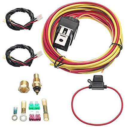 electric fan relay wiring harness thermostat dual sensor kit 40 rh amazon com