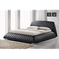 Baxton Studio Wholesale Interiors Chanelle Faux Leather Platform Bed, Queen, Black