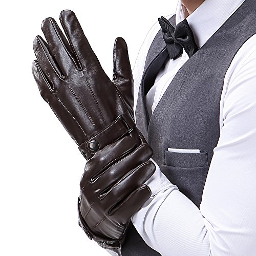 (Mens Luxury Touchscreen Italian Nappa Genuine Leather Winter Warm Gloves for Texting Driving Cashmere Lining Blend Cuff (L-8.9'', Brown))