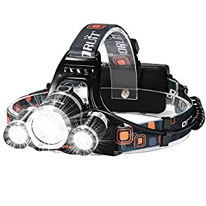 Super Bright 3 Beams 4 Modes Waterproof LED Headlamp with 2 Rechargeable 18650 Batteries,Wall Charger and USB Cable for Outdoor Sports