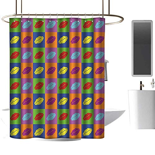 homehot Shower Curtains Fabric Floral Kiss,Pop Art Style Lipstick Kisses on Vibrant Colored Squares 60s Style Seductive Romantic,Multicolor,W36 x L72,Shower Curtain for -