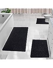 Yimobra 3 Piece Shaggy Chenille Bath Mat Sets, Extra Large Bathroom Mats 44.1x24 + Bathroom Rugs 31.5x19.8 + Toilet Mat 24.4x20.4, Soft Comfortable, Water Absorbent, Non-Slip, Machine Washable