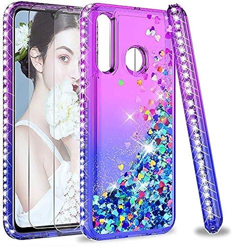 LeYi per Cover Huawei P30 Lite/Lite XL/P30 Lite New Edition Glitter Custodia con Vetro Temperato [2 Pack],Brillantini Diamond Donna Silicone Antiurto ...