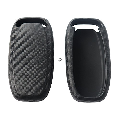 2Pack Silicone carbon fiber pattern car key case cover keychain for smart audi A1 A3 A4 A6 A5 S5 A7 S6 A8L S7 S8 Q3 Q5 SQ5 Q7 Q6 TT TTS R8 R18 accessories fob shell key bag