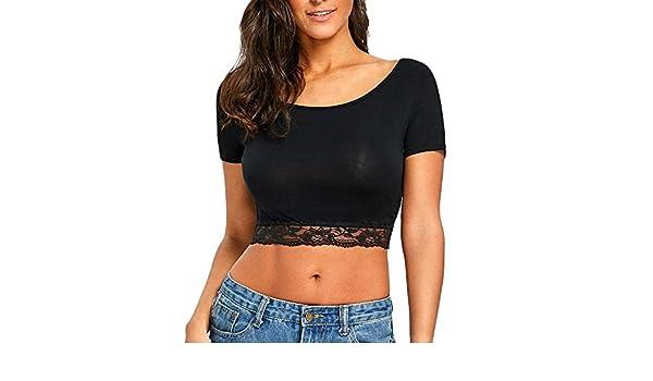 YEBIRAL Camisetas Mujer, Blusas para Mujer Elegantes Encaje Slim Transpirable Suaves Camiseta Mujer Manga Corta Crop Tops T-Shirt Verano(XL, Negro): Amazon.es: Ropa y accesorios