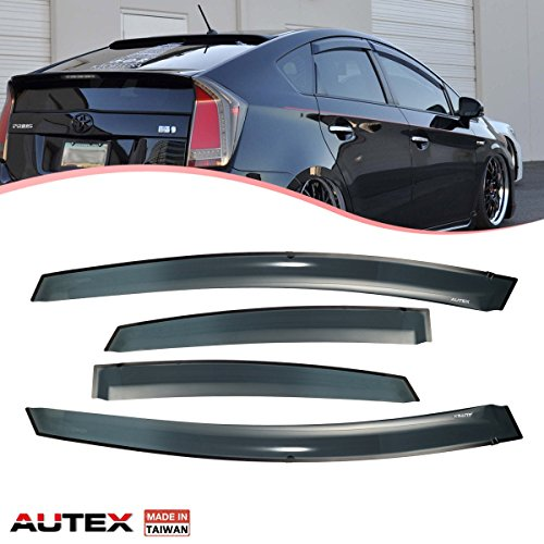 (AUTEX 4Pcs Tape On Window Fits for 2010 2011 2012 2013 2014 Toyota Prius 2014 2015 Toyota Prius Plug-in Side Wind Deflector Sun Guards)