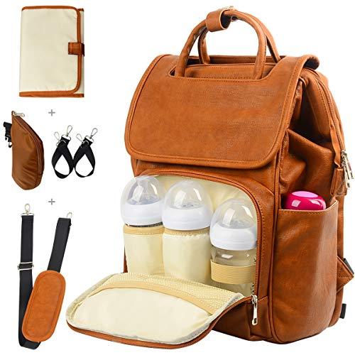 (Leather Diaper Backpack, Travel Diaper Backpack Nappy Baby Bags for Mom Unisex Maternity Diaper Bag with Stroller Hanger|Thermal Pockets|Adjustable Shoulder Straps|Water Proof| LargeCapacity (Brown))