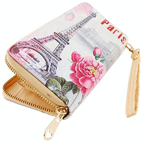 Geldbörse Paris, Portmonee, Geldbeutel, Langbörse, Brieftasche, Breite ca. 19cm