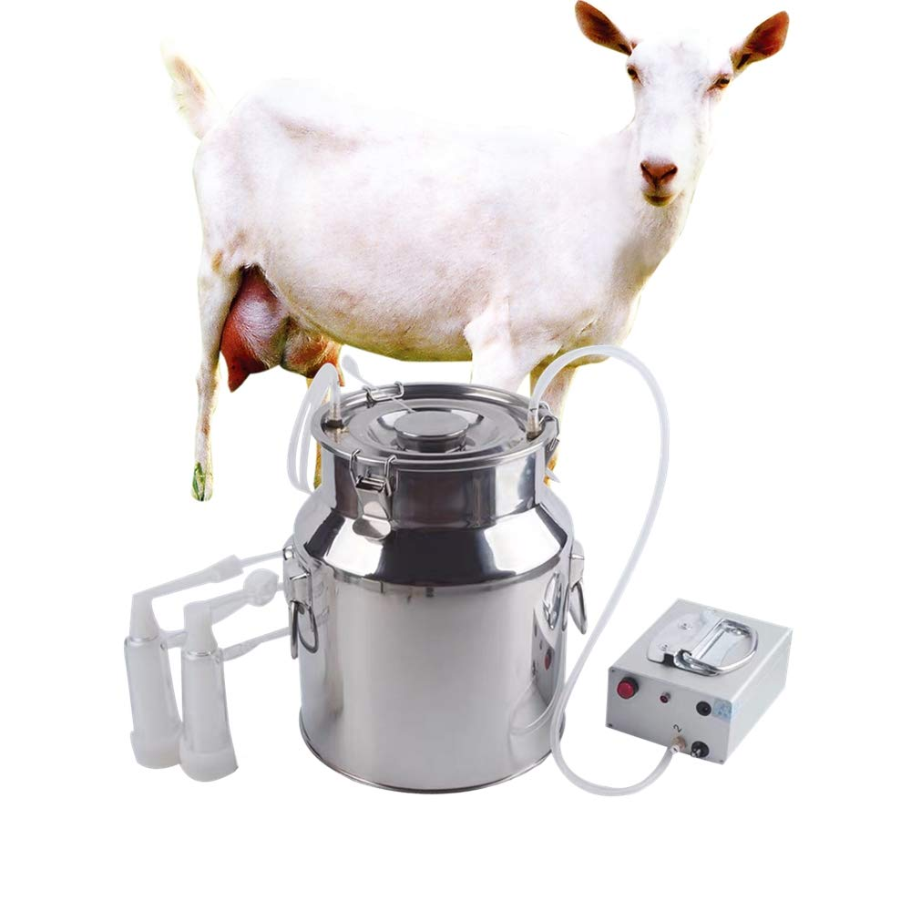 Futt Electric Pulsation Milking Machine Single Bucket Piston Vacuum Pulsation Milking Machine for Cows Cattle or Sheep Optional (5L, Sheep)
