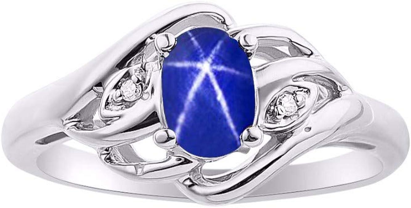 Rylos Simplemente Elegante, hermoso Zafiro de Estrella Azul y anillo de Diamantes - Piedra de nacimiento de septiembre