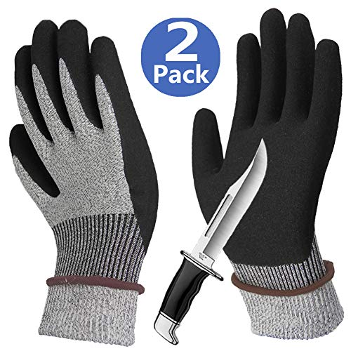 Cut Resistant Gloves Sleeves 2 Pack, Non-Slip Breathable Work Gloves, Grip Coated Long Cuff for Kitchen Fishing Garden Construction Auto Restoration Multipurpose Use - 2 Pairs