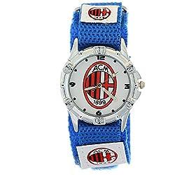 Timermall AC Milan Blue Fabric Velcro Strap Analogue Kids Sport Watches