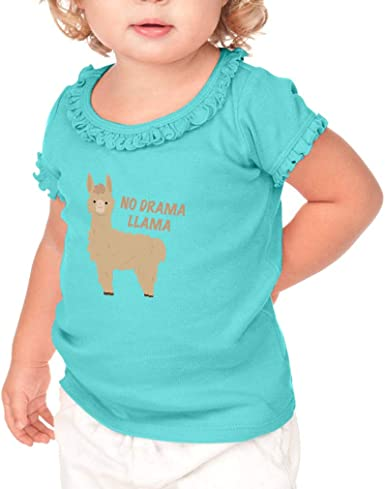 Toddler Baby Girl No Drama Llama Funny Short Sleeve Cotton T Shirts Basic Tops Tee Clothes