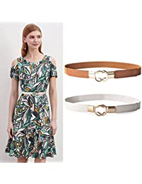 2 Pack Women Retro Elastic Stretchy Metal Buckle Skinny Waist Cinch Belt 1Inch Wide