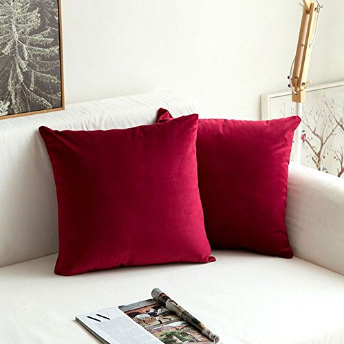 MIULEE Pack of 2 Velvet Soft Soild Decorative Square Throw Pillow Covers Set Cushion Case for Sofa Bedroom Car 16 x 16 Inch 40 x 40 cm Wine Red (Red Pillow Throw)