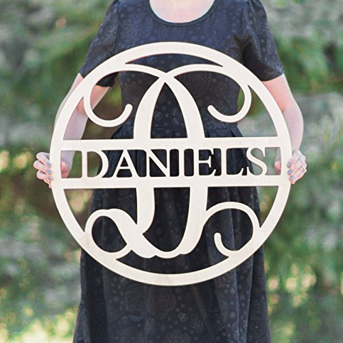 SALE 16-36 inch Wooden Circle LAST NAME SIGN Monogram Letters Vine Room Decor Nursery Decor Wooden Monogram Wall Art Large Wood monogram wall hanging wood LARGE -