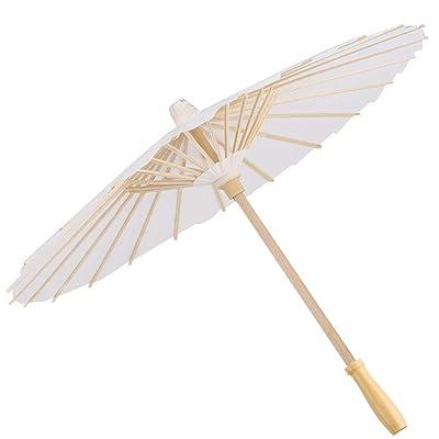 Paper Parasol, MAGT 23 Inch Romantic Elegance Paper Umbrella As Decorative Umbrella Parasol for Wedding Bridal Party and Decor Photo Prop (White) : Garden & Outdoor