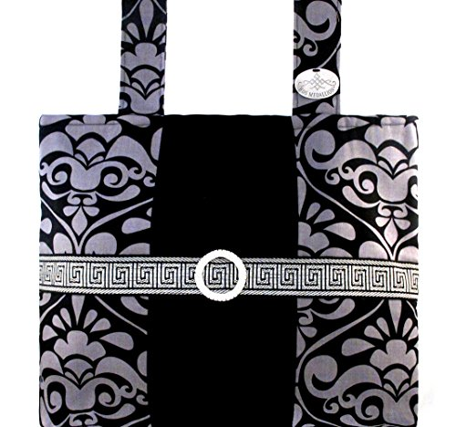 Silver & Onyx Damask - Sophisticated, Functional Walker Bag With ()