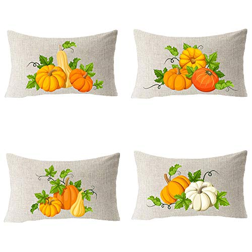 Pack of 4 Autumn Harvest Pumpkin Fall Give Thanks Cotton Linen Square Throw Waist Pillow Case Decorative Cushion Cover Pillowcase Sofa 12x20 inches ()