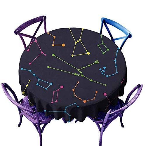 ONECUTE Waterproof Table Cover,Constellation Colorful Astronomic Illustration Science Ursa Major Minor Polaris Celestial,Modern Minimalist,55 INCH Multicolor
