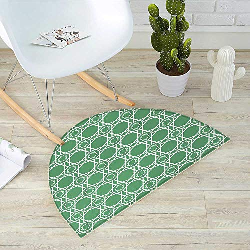 (Green Half Round Door mats Moroccan Traditional Star Pattern Girih Tiles Inspired Geometrical Retro Arabic Bathroom Mat H 19.7
