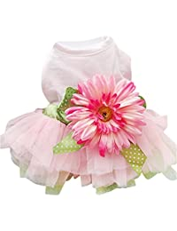 Daisy Flower Gauze Tutu Dress Pet Dog Bowknot Princess Clothes Pet Only for Small Dog