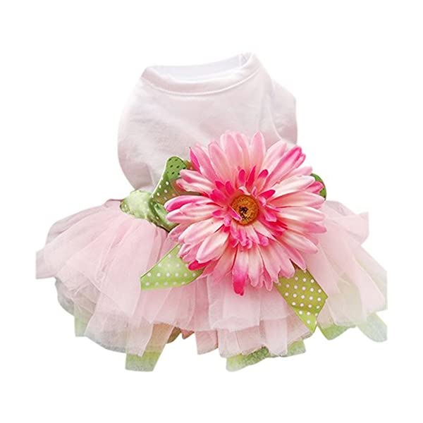 Sanwood Daisy Flower Gauze Tutu Dress Pet Dog Bowknot Princess Clothes Pet Only(XXL)
