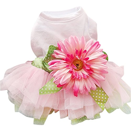 Sanwood Daisy Flower Gauze Tutu Dress Pet Dog Bowknot Princess Clothes Pet Only (M)